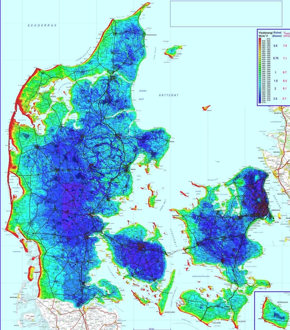 Dania Mapa Wietrzności I Rozmieszczenie Elektrowni Wiatrowych