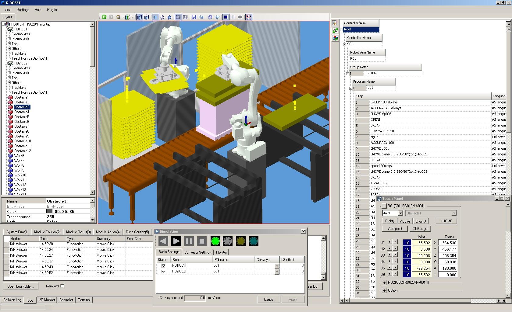 Projektowanie i analiza stanowisk zrobotyzowanych w oprogramowaniu K-Roset