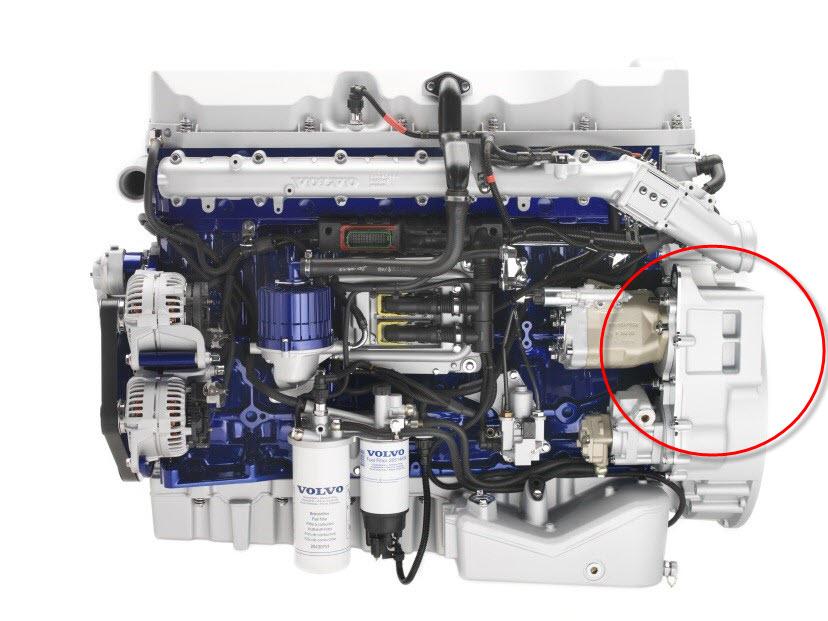 Kompaktowa konstrukcja pompy o zmiennej wydajności firmy Bosch Rexroth rozwiązuje problem ograniczonej przestrzeni montażu w nowoczesnych silnikach Diesla (tu: Volvo D9B).