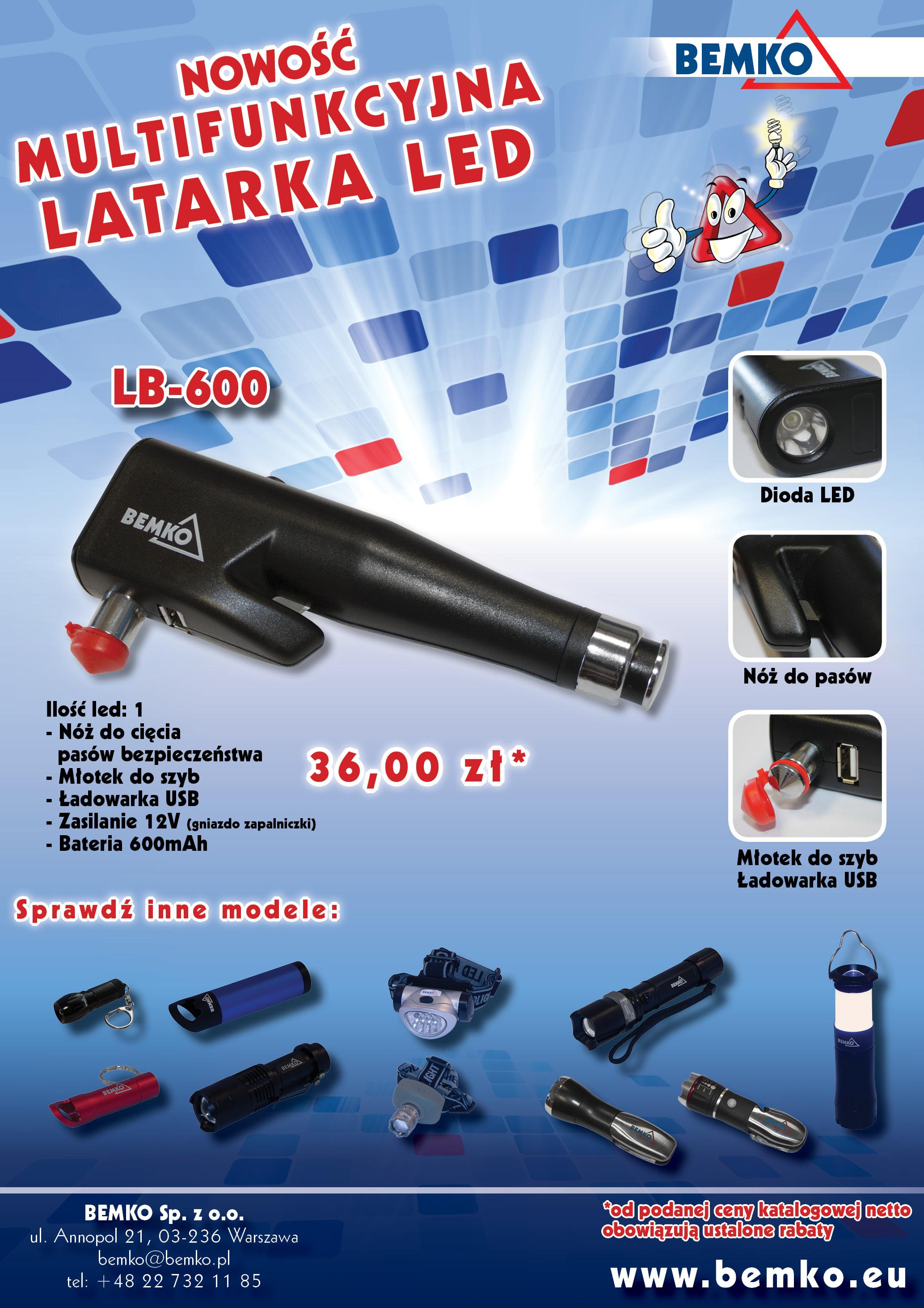 Multifunkcyjna latarka LED z funkcją ładowarki USB, noża do pasów i młotka do szyb