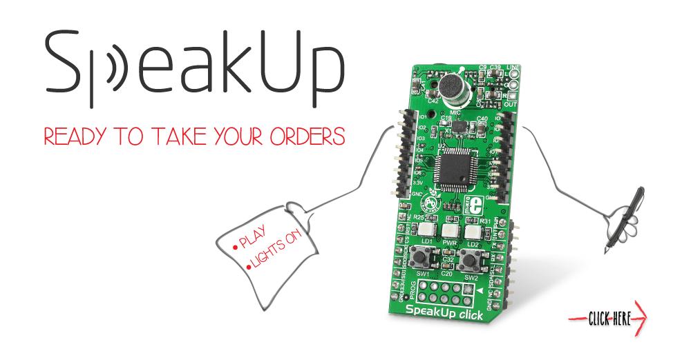 Płytka SpeakUp click służy do rozpoznawania komend głosowych