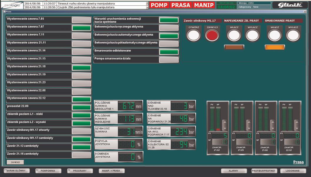 Panel operatora prasy 1600T