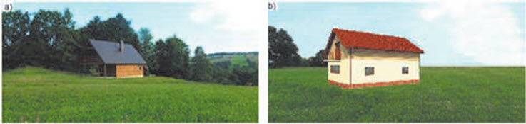 Rys. 6. Przykłady obiektów: a) na wzgórzu, b) na terenie płaskim