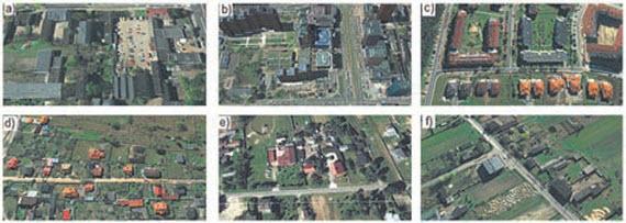 Rys. 7. Typowe przykłady usytuowania obiektów w środowisku: a) miejskim, b) miejskim z wysokimi budynkami, c) podmiejskim, jak w miejskim; d) podmiejskim, jak w wiejskim; e) wiejskim, jak w podmiejskim, f) wiejskim (Wieś Dąbrowa k. Łodzi)