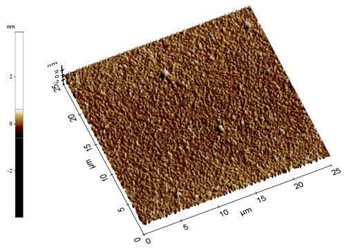 Rys. 5. Topografia powierzchni cienkiej warstwy TiO2 osadzonej z prędkością 4000 obr/min na monokrystalicznym krzemie