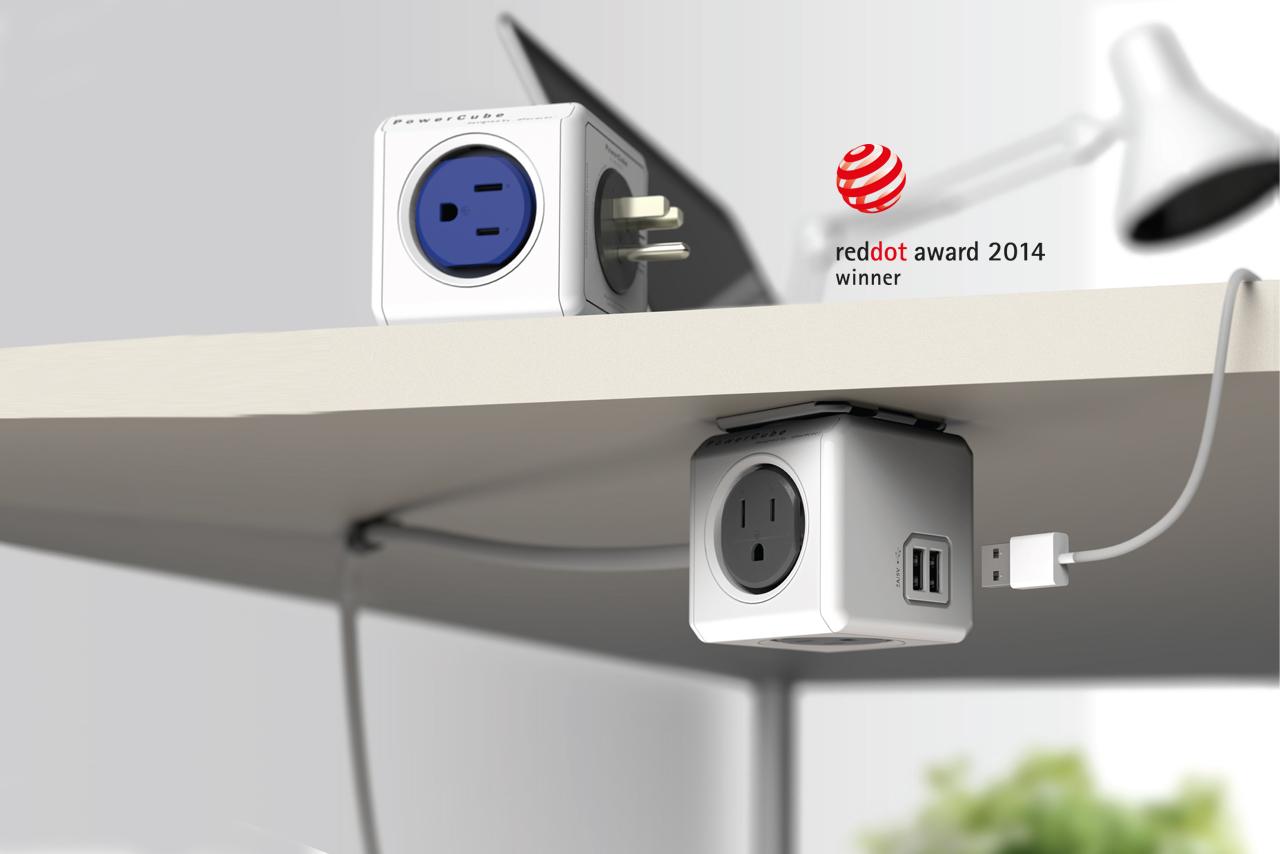 PowerCube stanowi ergonomiczne połączenie listwy zasilającej z ładowarką USB, za które firma otrzymała w minionym roku prestiżową nagrodę reddot award.
