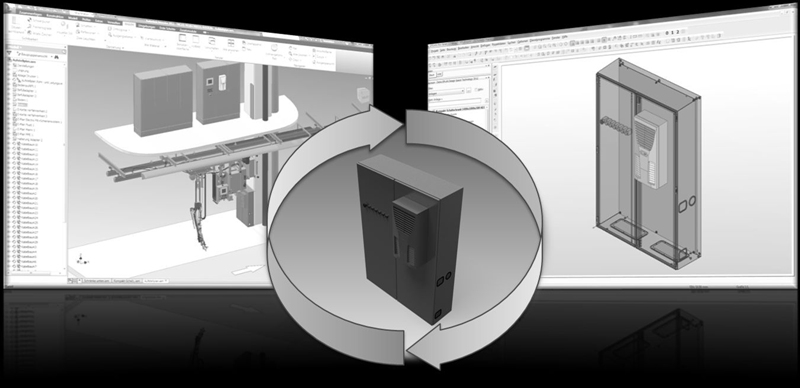 Eplan Design Space Exchange (DSE) obsługuje dane interdyscyplinarne pomiędzy konstrukcją mechaniczną i technologią systemów sterowania w konstrukcji szaf rozdzielczych i sterujących