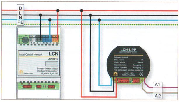 Rys. 3. Wykorzystanie dodatkowej żyły przewodu wielożyłowego do komunikacji między modułami LCN - żyła danych D [2]