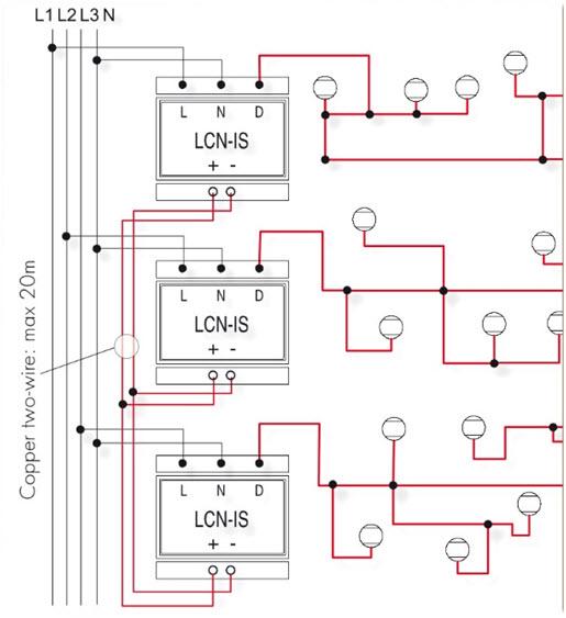 Rys. 8. Wydłużenie pojedynczego segmentu magistrali LCN z wykorzystaniem modułów LCN-iS, każda część żyły danych D może osiągnąć długość do 1000 m [3]