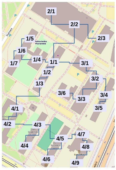 Rys. 13. Rozprowadzenie poszczególnych linii po terenie obiektu w systemie KNX