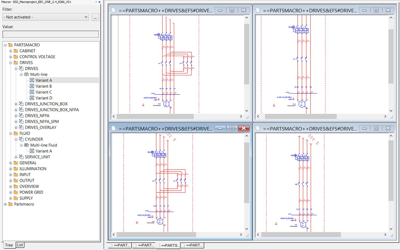 Platforma EPLAN 2.5 umożliwi opracowywanie makr w postaci diagramu drzewa lub w tabeli z opcją wielokrotnego wyboru. Warianty makr i różne typy reprezentacji będą mogły być łatwiej przeglądane kontekstowo