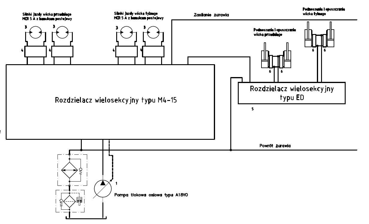 Schemat ideowy hydrostatycznego układu jazdy pojazdu szynowego DS1
