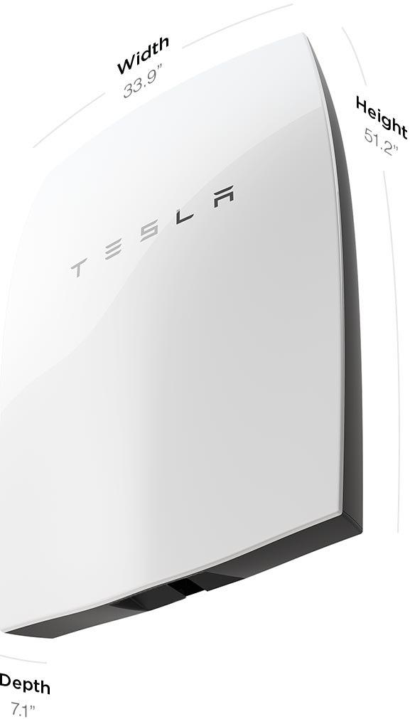 Wymiary zewnętrzne baterii Tesla Powerwall