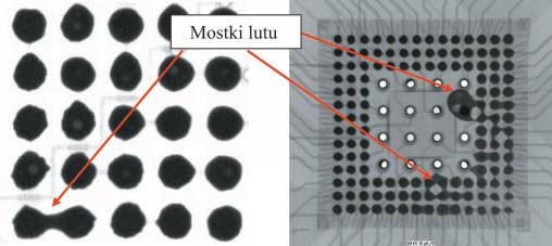 Fig. 2. Examples of solder bridges between joints of CSP component