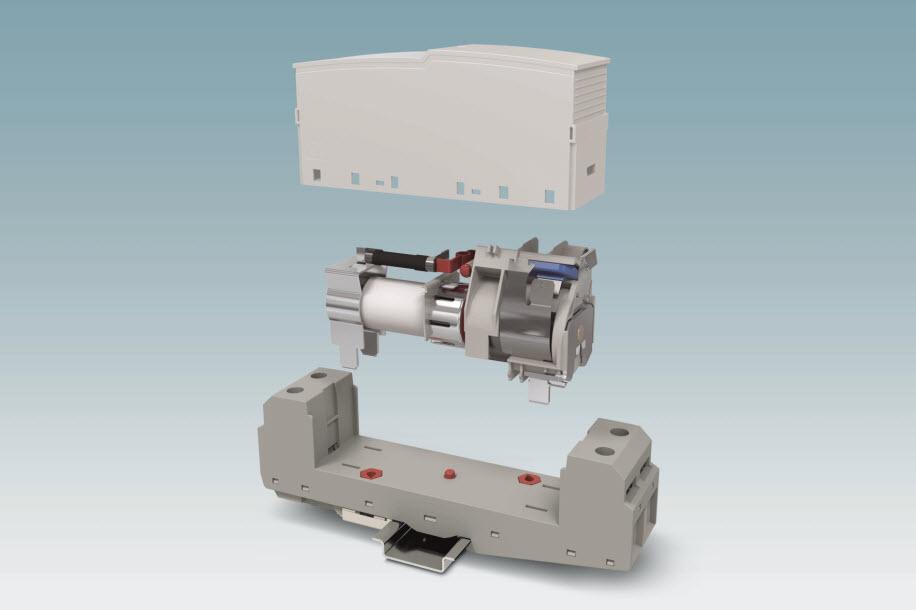 FLT-SEC-HYBRID jest pierwszym wtykowym ogranicznikiem typu 1 ze zintegrowanym bezpiecznikiem dobezpieczającym w połączeniu z iskiernikiem dużej mocy bez prądu następczego.