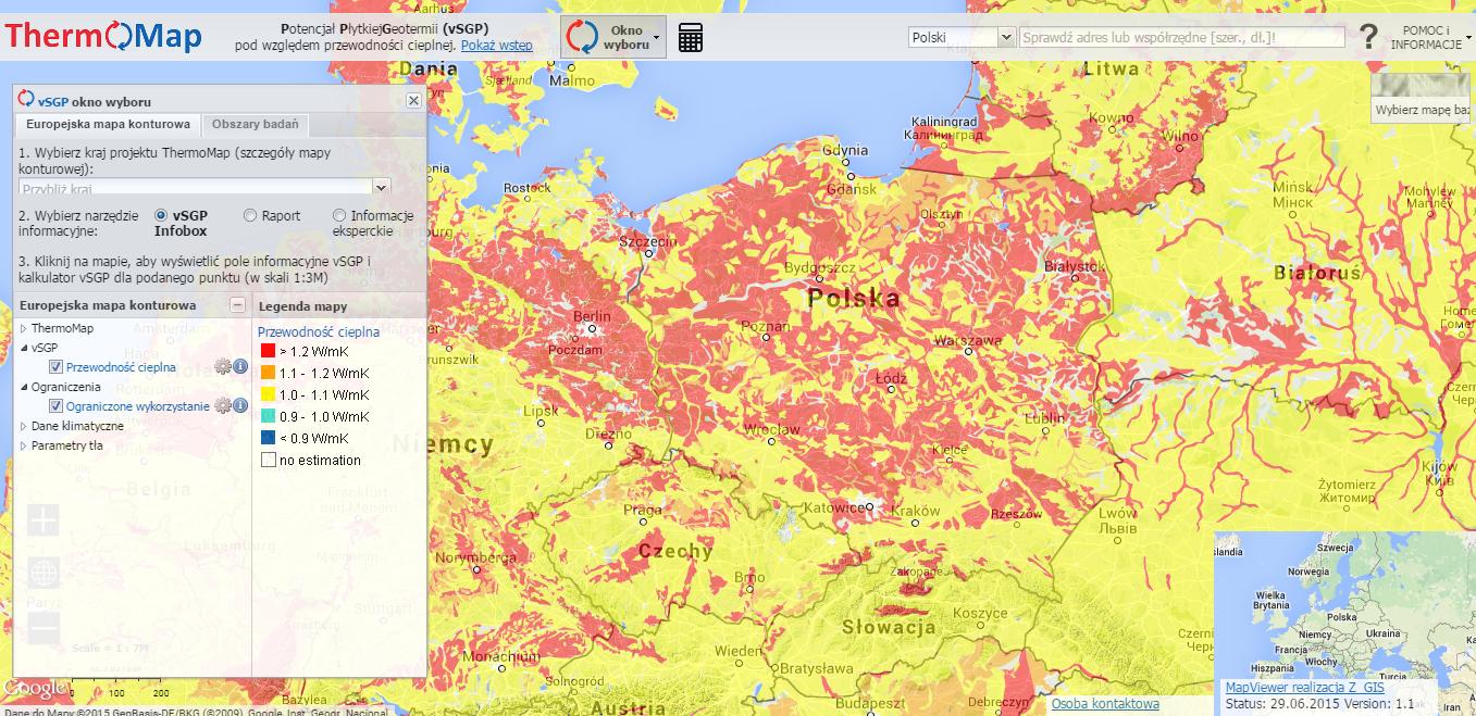 Mapa potencjału płytkiej geotermii w polskiej wersji językowej