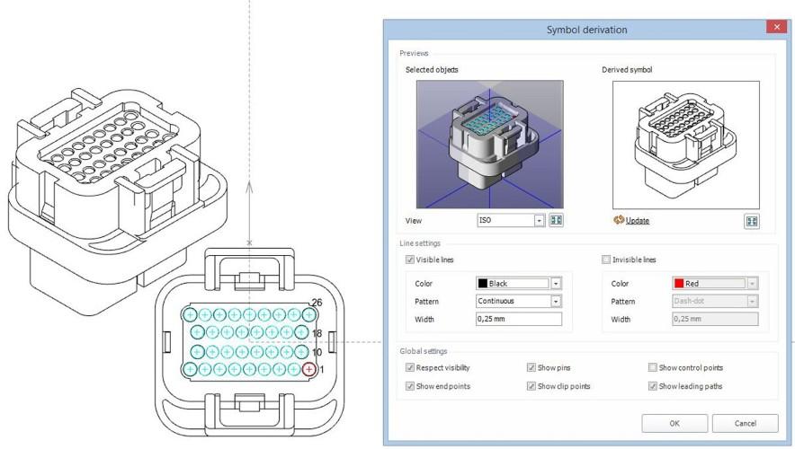 Funkcja asystenta pomaga użytkownikom w ekstrapolacji symboli 2D przy tworzeniu diagramu tablicy montażowej z istniejących modeli 3D.