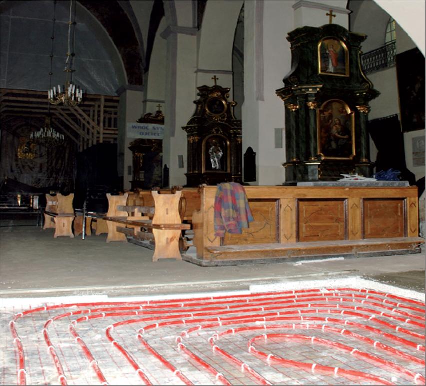 Ogrzewanie podłogowe w Kościele pw. Wniebowzięcia Najświętszej Maryi Panny w Kraśniku,