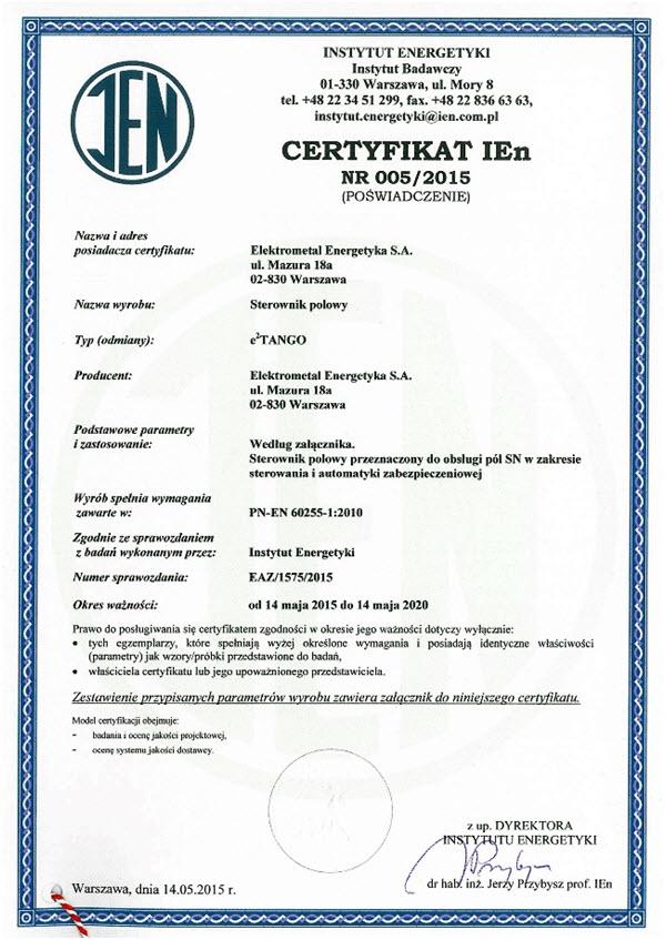 Certyfikat Instytutu Energetyki dla e2TANGO