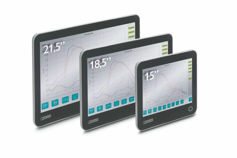 Przemysłowe komputery panelowe posiadają wyświetlacze o rozmiarach od 15 do 21.5 cali, co gwarantuje ich szeroki zakres zastosowań.
