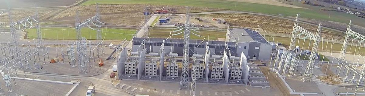 Stacja przekształtnikowa prądu stałego ABB w pobliżu miasta Olita (Alytus) na Litwie