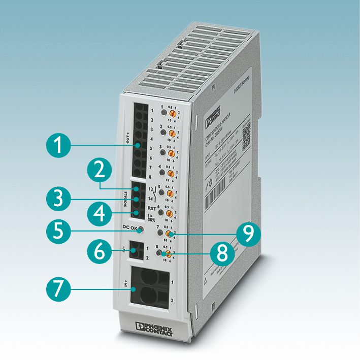 Rys 2. Wielokanałowe elektroniczne wyłączniki Phoenix Contact posiadają łatwy do obsługi panel zewnętrzny:  (1)  Chronione obwody  (2)  Sygnalizacja braku zasilania  (3)  Zdalne załączenie  (4)  Alarm I > 80%  (5)  Napięcie zasilania OK  (6)  Własny minus do zasilania wyłącznika  (7)  Aż do 80 A  (8)  Wyświetlanie statusu kanału  (9)  Nastawa krokowa prądu