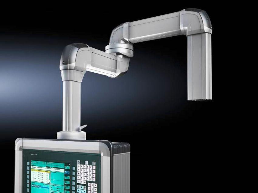 Łatwiejsze wprowadzanie kabli - otwarte profile ramion nośnych firmy Rittal