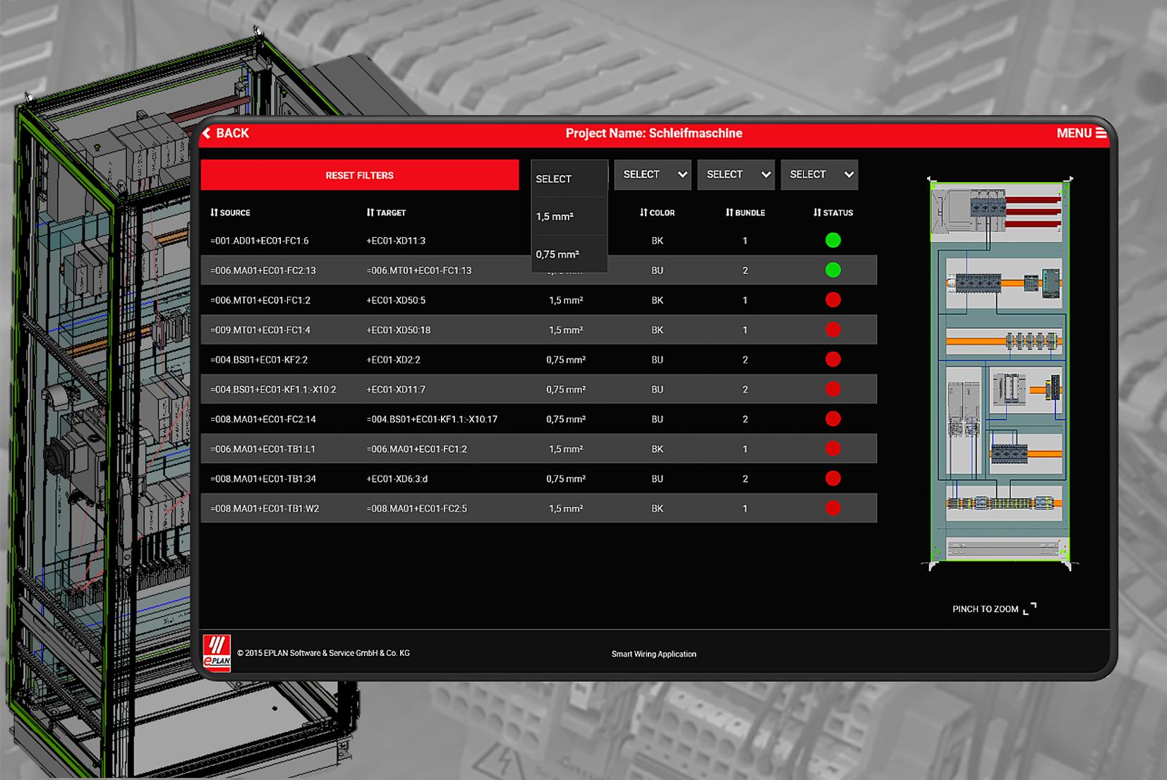Aplikacja Smart Wiring Application krok po kroku dostarcza instrukcje dla panelu bazując na danych inżynieryjnych.