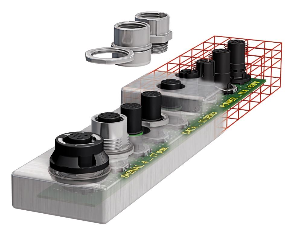 Różne sposoby montażu gniazd  -od lewej: obudowa samokompensująca, obudowa montowana od wnętrza urządzenia, obudowa wciskana, obudowa montowana od zewnątrz, gniazda wykonane jako odlew korpusu urządzenia.