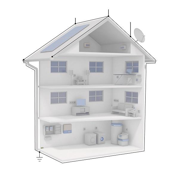Instalacja w budynku - typową instalację fotowoltaiczną na dachu należy zintegrować z całym systemem przy użyciu zewnętrznych odgromników i ograniczników przepięć.