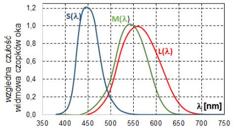 Rys. 2. Względna wartość rozkładu czułości widmowej czopków typu S, M oraz L