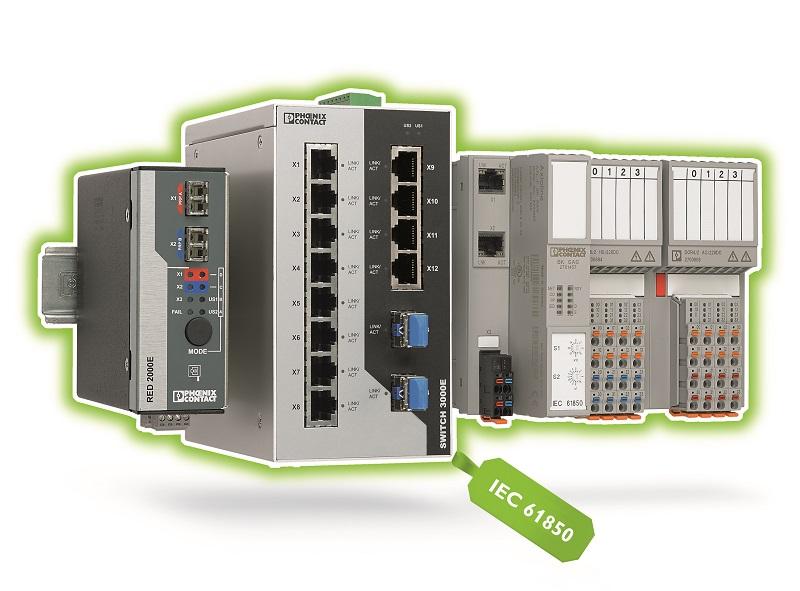 System Axioline F I/O, opracowany dla komunikacji zgodnej z normą IEC 61850, jest wyposażony w odpowiednie komponenty infrastrukturalne.