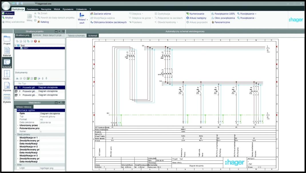 W programie można tworzyć samodzielnie lub edytować automatyczne schematy jednokreskowe lub wielokreskowe
