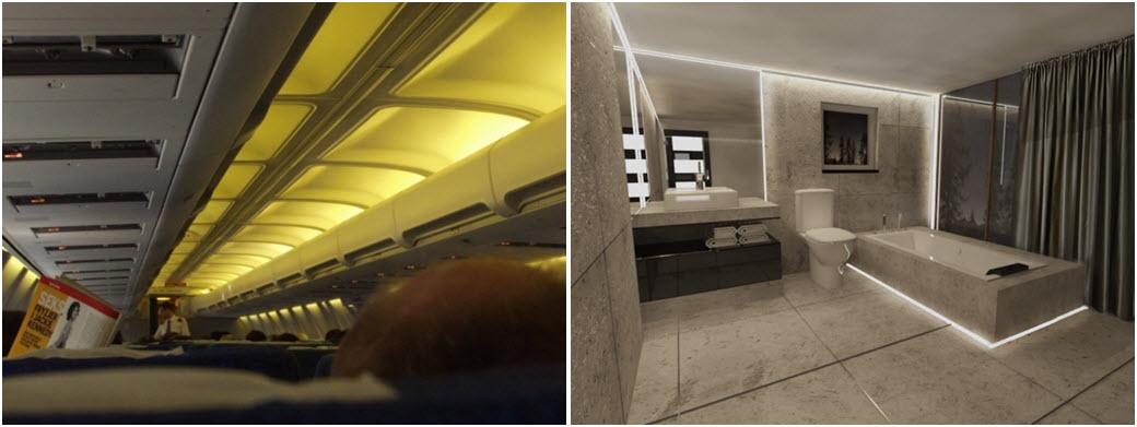 Najwcześniej pomysł oświetlenia szczelinowego znalazł swą aplikacje w oświetleniu kabiny pasażerskiej samolotu. Dziś oświetlenie szczelinowe, pośrednie  jest z powodzeniem stosowane w oświetleniu przestrzeni mieszkalnych.
