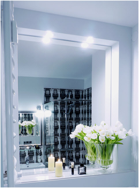 LED light points as successors of halogen light points. Directional lighting gives good possibilities of corner lighting realization. In this case lighting of a niche with a mirror in the bathroom