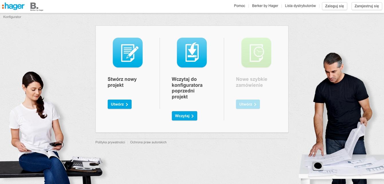 Strona startowa konfiguratora w wersji desktopowej