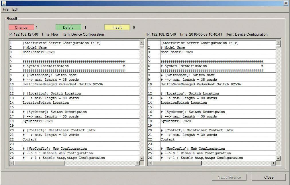 Zrzut ekranu z programu N-Snap – podgląd konfiguracji urządzenia (tu: obecnej i wykonanej dzień wcześniej)