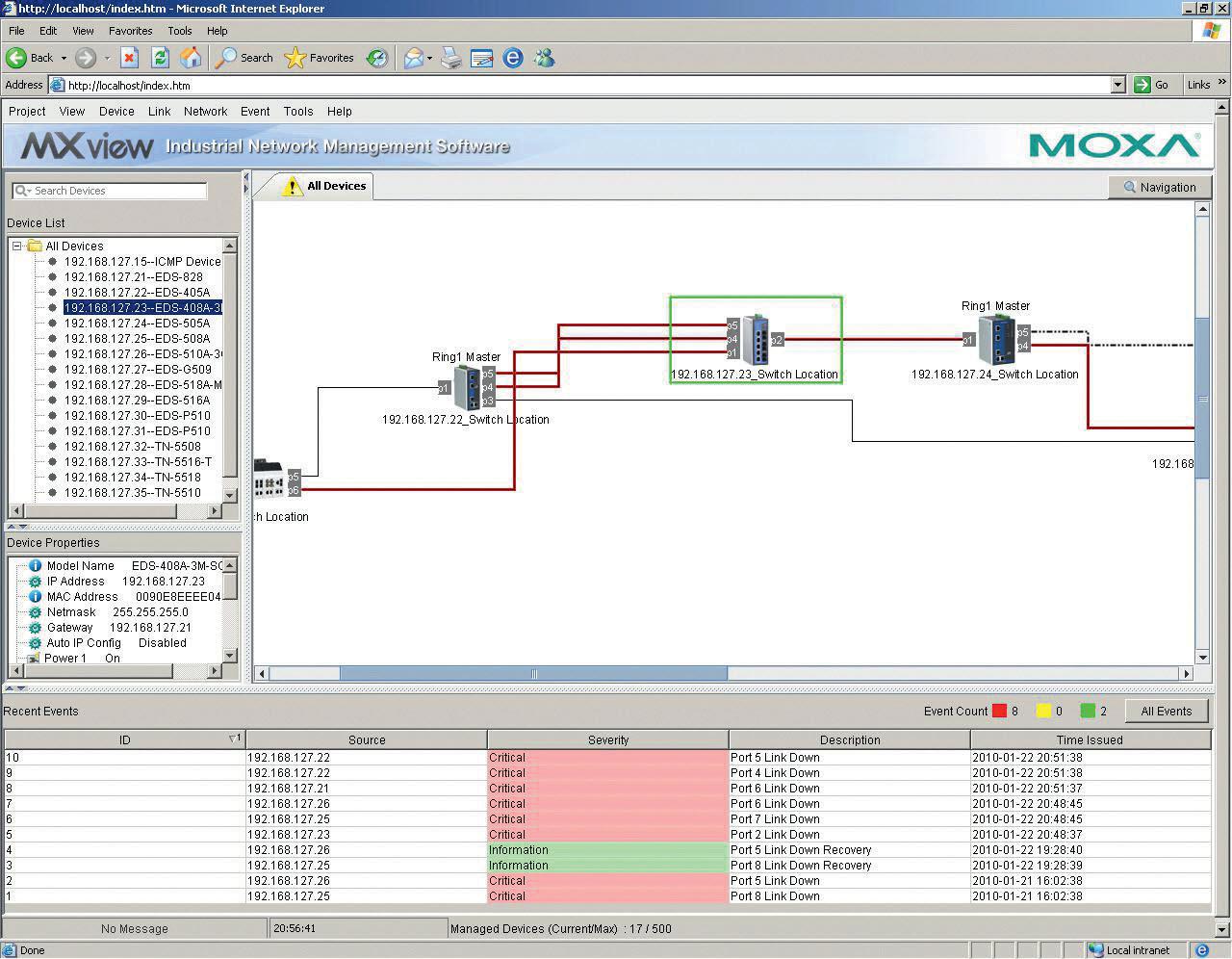 Zrzut z głównego okna MxView. W oknie wizualizacji wyraźnie widać utratę komunikacji na poszczególnych łączach (połączenia takie zostały oznaczone kolorem czerwonym)