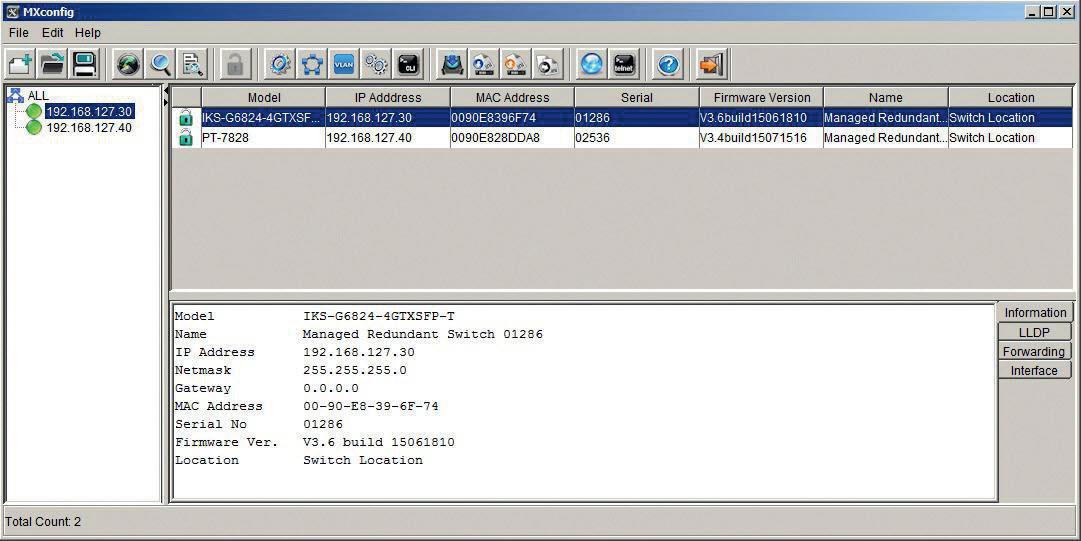 Zrzut ekranu z aplikacji MxConfig umożliwiającej m.in. przeprowadzenie konfiguracji na wielu urządzeniach ethernetowych jednocześnie (tzw. konfiguracja grupowa), fot. Elmark Automatyka