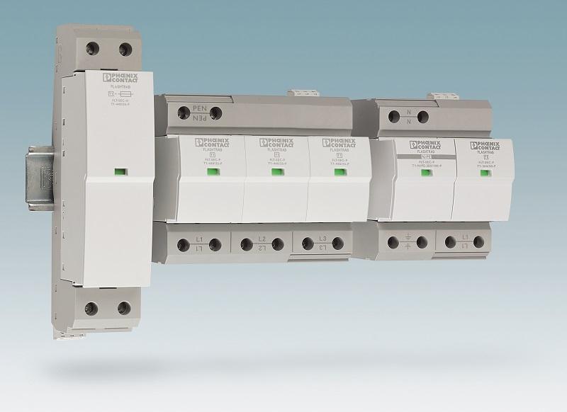 """Ogranicznik przepięć typu 1 SPD z rodziny Flashtrab SEC z """"Safe Energy Control Technology"""" firmy Phoenix Contact stanowi optymalną ochronę dla każdej instalacji"""