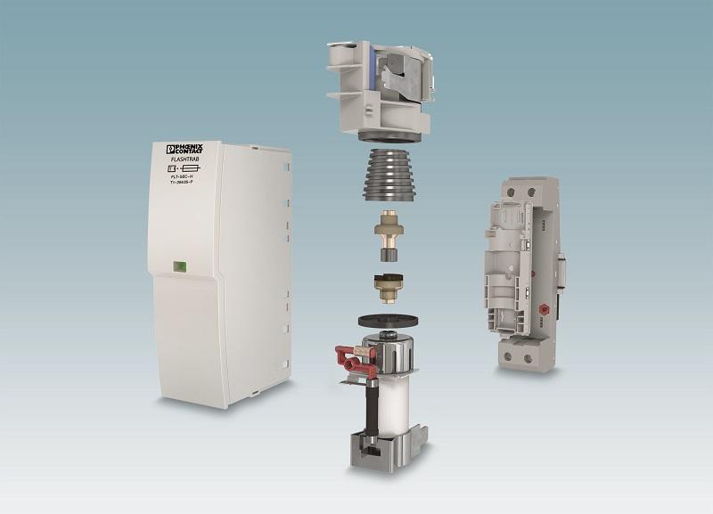 Zajmuje mało miejsca: Kombinacja bezpiecznika wytrzymałego na prąd udarowy i iskiernika pozbawionego prądu następczego sieci w ograniczniku przepięć typu 1 Flashtrab SEC Hybrid