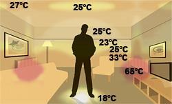 Promieniowanie cieplne z tradycyjnego systemu ogrzewania wyposażonego w kaloryfery. Wysokie wahania temperatury (18-65°C) w pomieszczeniu.