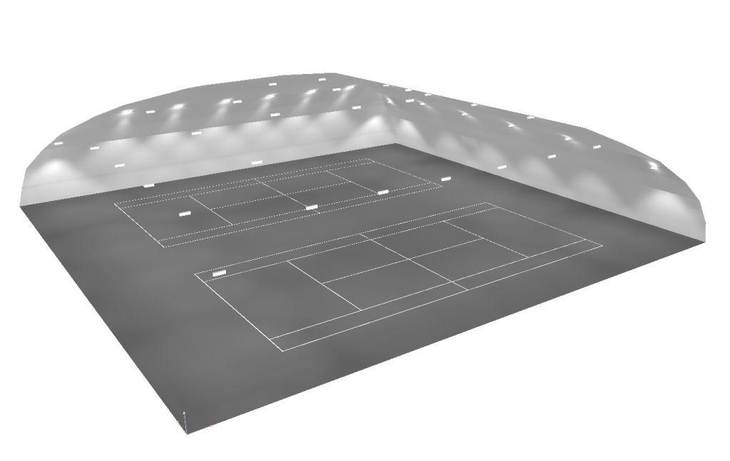 Oświetlenie kortów tenisowych pod balonem z użyciem opraw Teksas LD-TK100W-40