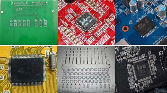Płytki drukowane PCB w różnych kolorach (zielony, czerwony, żółty, niebieski, biały i czarny)