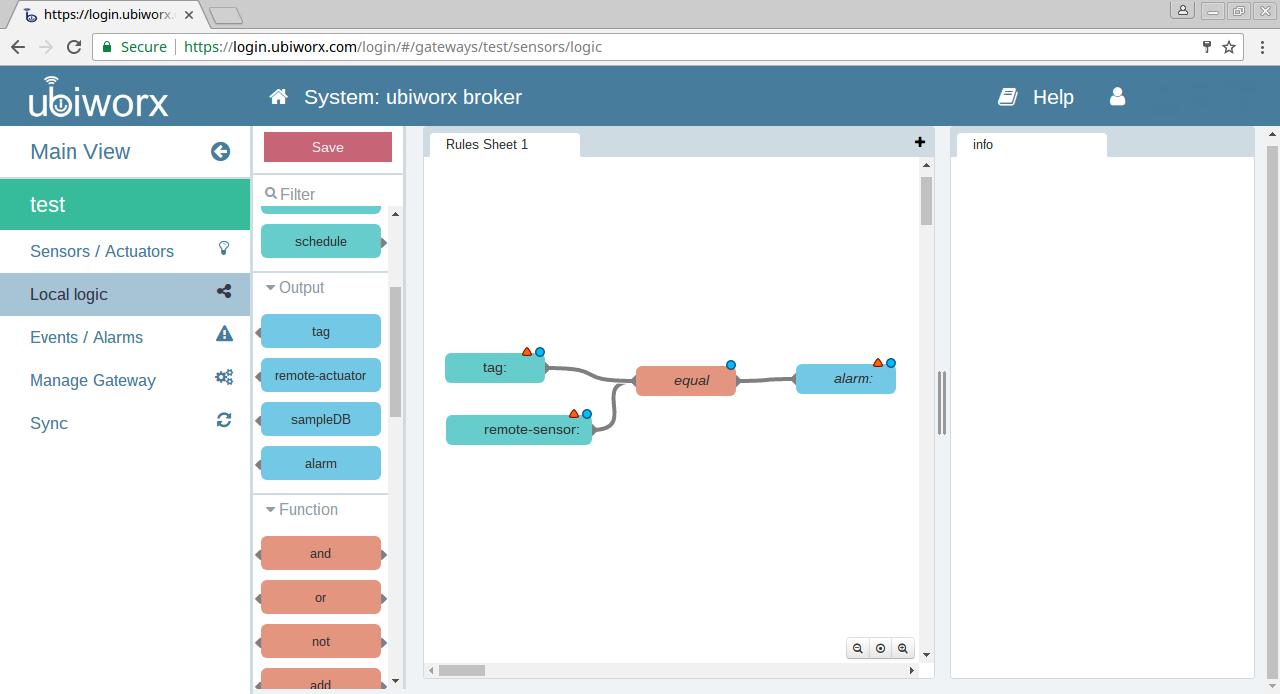 Rys. 8:  W środowisku ubiworx można graficznie tworzyć reguły zachowań modułów oraz grup modułów.