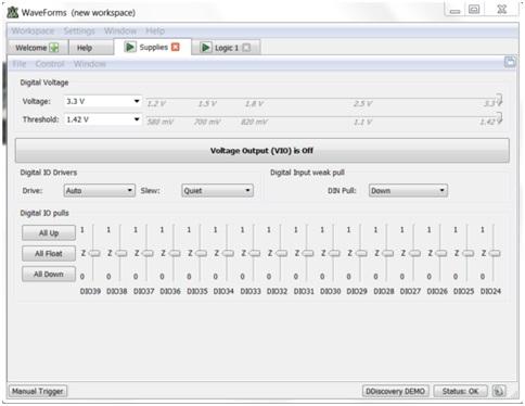 fot. 3 Ekran konfiguracji wejść/wyjść cyfrowych Digital Discovery w programie WaveForms.