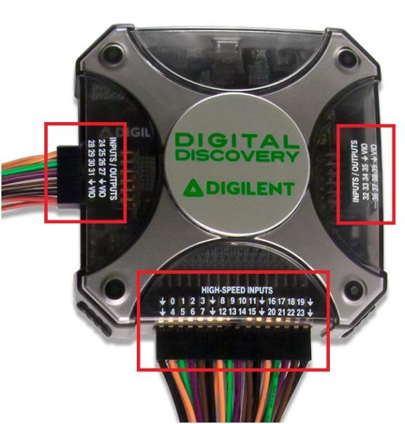 fot. 5 Trzy różne złącza kołkowe pozwalają na podłączenie do 40 sygnałów.