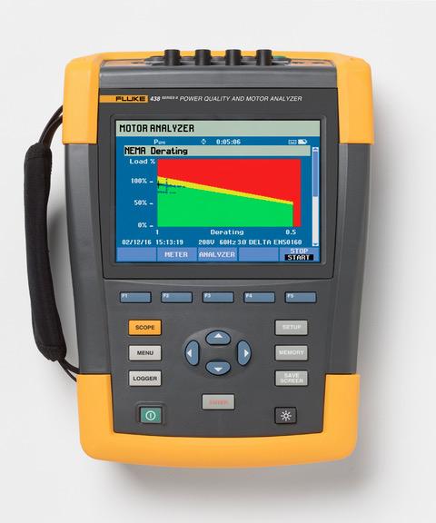 nowe narzędzie do testowania jakości zasilania i analizowania pracy silników Fluke 438-II