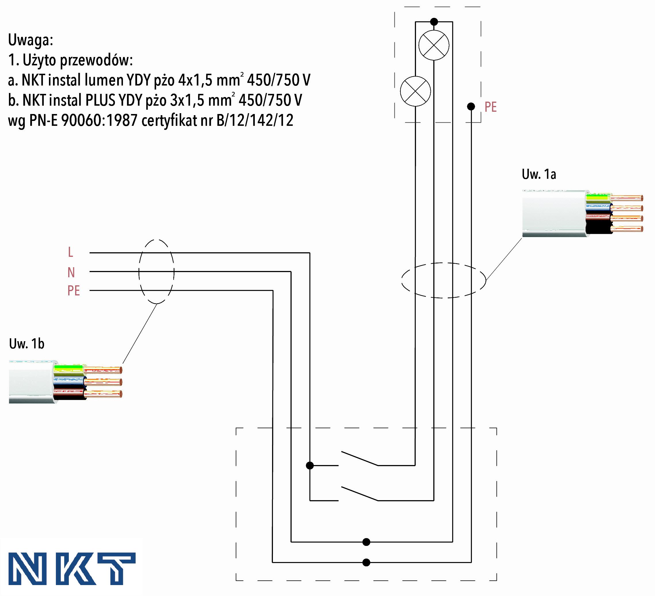 Schemat 2. Schemat połączeń instalacji elektrycznej oświetlenia podstawowego (instalacja bez puszek rozgałęźnych)