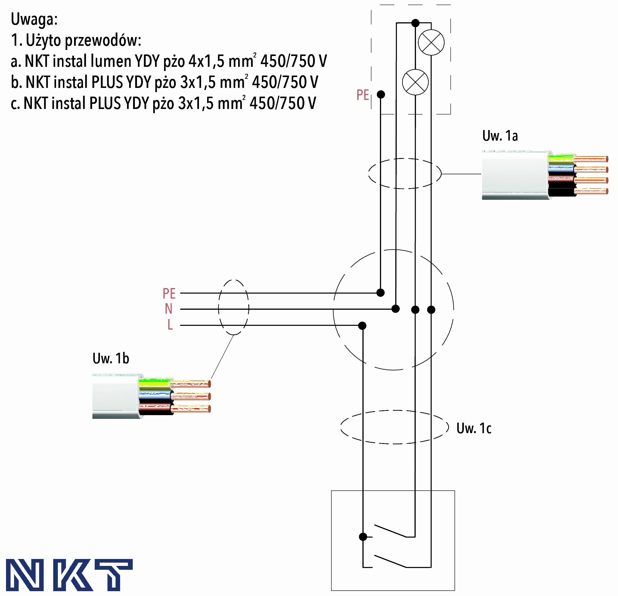 Schemat 3. Schemat połączeń instalacji elektrycznej oświetlenia podstawowego (instalacja z puszkami rozgałęźnymi)